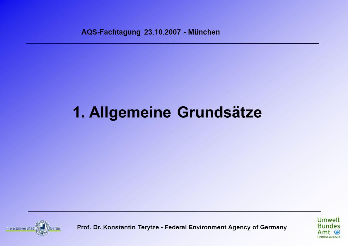 Prof. Dr. Konstantin Terytze - Federal Environment Agency of Germany AQS-Fachtagung 23.10.2007 - München 1. Allgemeine Grundsätze