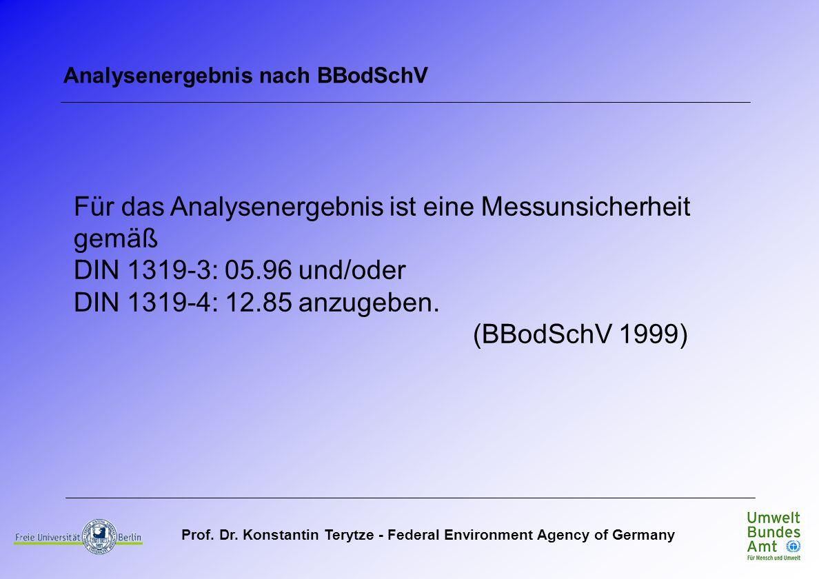 Prof. Dr. Konstantin Terytze - Federal Environment Agency of Germany Analysenergebnis nach BBodSchV Für das Analysenergebnis ist eine Messunsicherheit