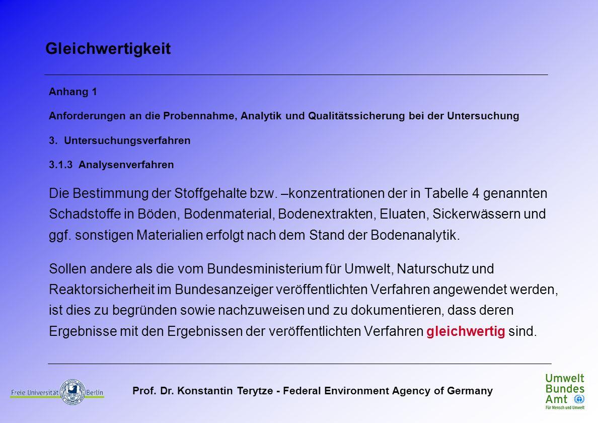 Prof. Dr. Konstantin Terytze - Federal Environment Agency of Germany Gleichwertigkeit Anhang 1 Anforderungen an die Probennahme, Analytik und Qualität