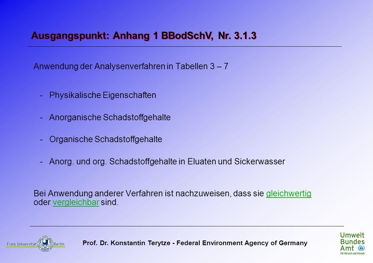 Prof. Dr. Konstantin Terytze - Federal Environment Agency of Germany Anwendung der Analysenverfahren in Tabellen 3 – 7 -Physikalische Eigenschaften -A