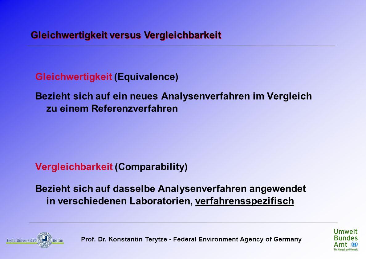 Prof. Dr. Konstantin Terytze - Federal Environment Agency of Germany Gleichwertigkeit (Equivalence) Bezieht sich auf ein neues Analysenverfahren im Ve