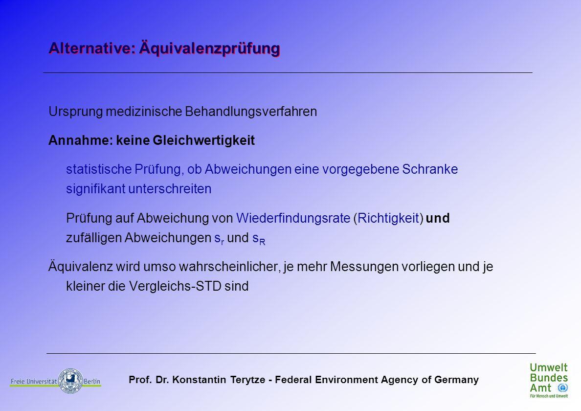 Prof. Dr. Konstantin Terytze - Federal Environment Agency of Germany Ursprung medizinische Behandlungsverfahren Annahme: keine Gleichwertigkeit statis
