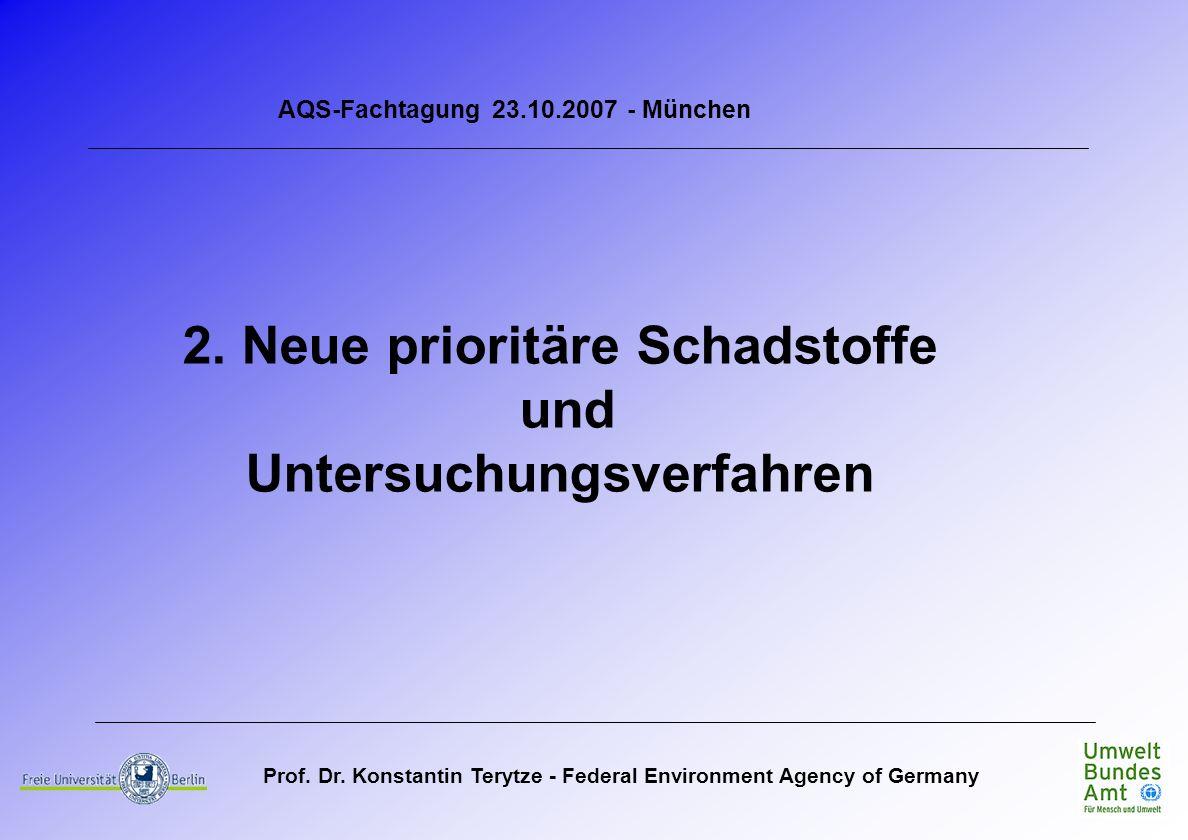 Prof. Dr. Konstantin Terytze - Federal Environment Agency of Germany AQS-Fachtagung 23.10.2007 - München 2. Neue prioritäre Schadstoffe und Untersuchu