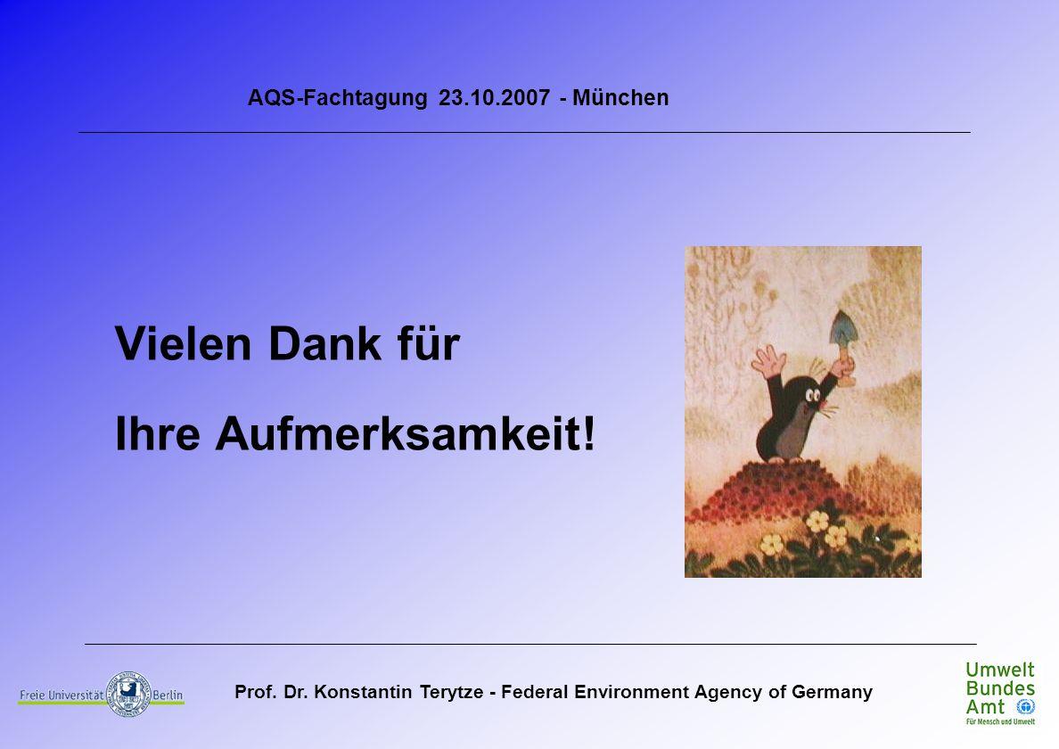 Prof. Dr. Konstantin Terytze - Federal Environment Agency of Germany Vielen Dank für Ihre Aufmerksamkeit! AQS-Fachtagung 23.10.2007 - München