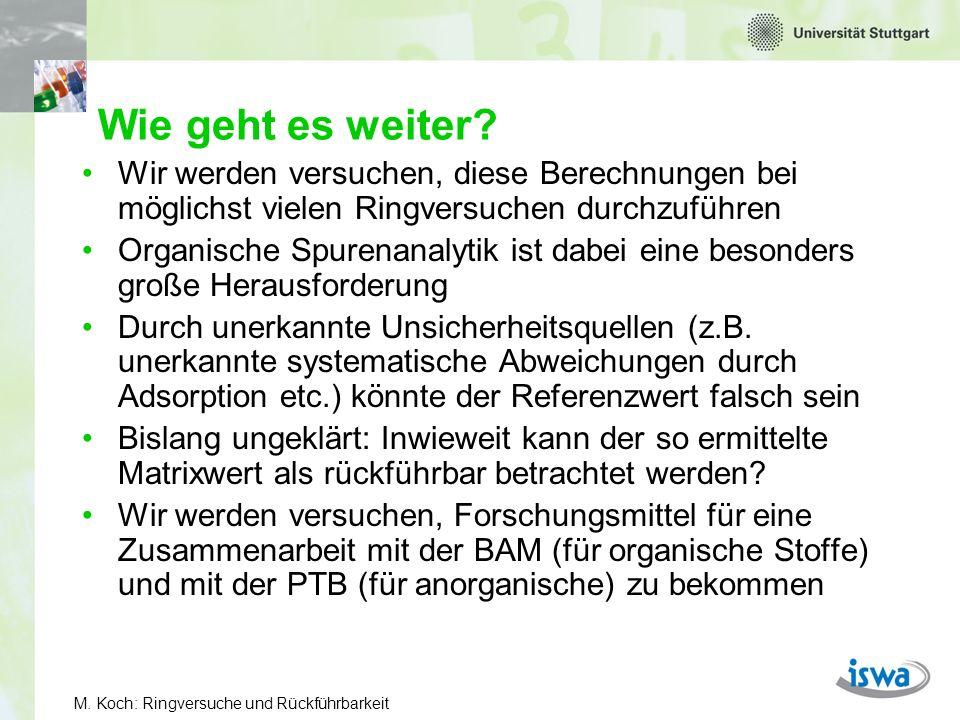 M.Koch: Ringversuche und Rückführbarkeit Wie geht es in den Ringversuchen weiter.