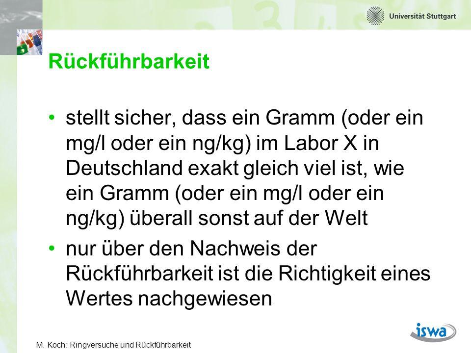M. Koch: Ringversuche und Rückführbarkeit Rückführbarkeit stellt sicher, dass ein Gramm (oder ein mg/l oder ein ng/kg) im Labor X in Deutschland exakt