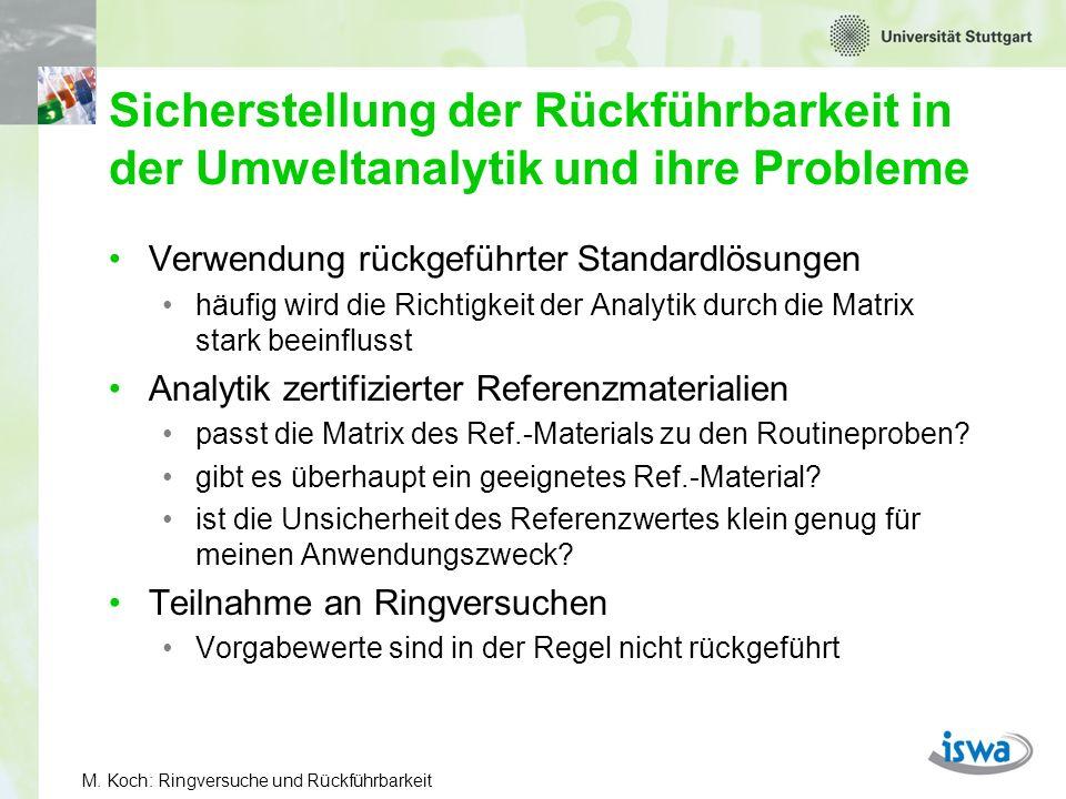 M. Koch: Ringversuche und Rückführbarkeit Sicherstellung der Rückführbarkeit in der Umweltanalytik und ihre Probleme Verwendung rückgeführter Standard