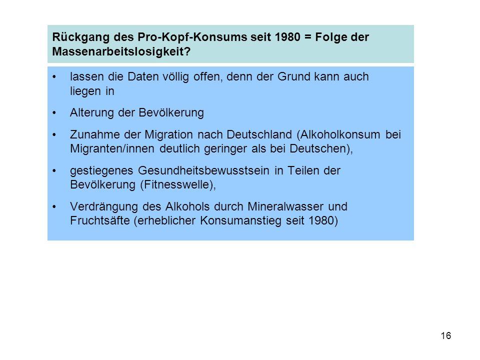 16 Rückgang des Pro-Kopf-Konsums seit 1980 = Folge der Massenarbeitslosigkeit.
