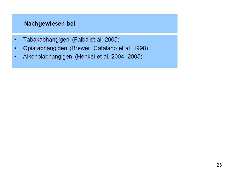 23 Nachgewiesen bei Tabakabhängigen (Falba et al. 2005) Opiatabhängigen (Brewer, Catalano et al. 1998) Alkoholabhängigen (Henkel et al. 2004, 2005)