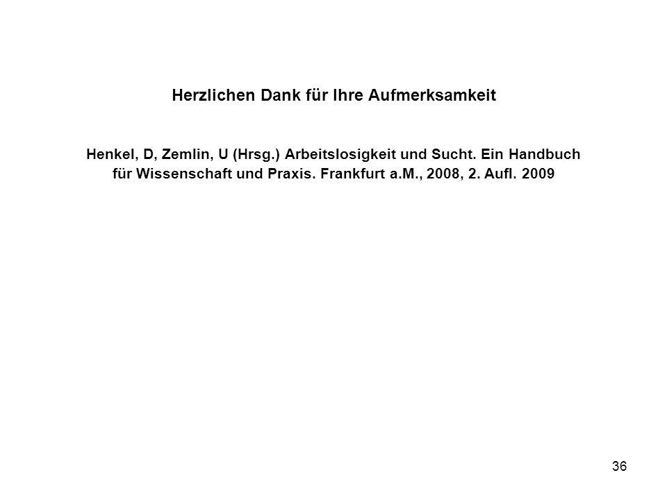 36 Herzlichen Dank für Ihre Aufmerksamkeit Henkel, D, Zemlin, U (Hrsg.) Arbeitslosigkeit und Sucht. Ein Handbuch für Wissenschaft und Praxis. Frankfur