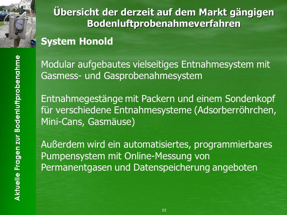 Aktuelle Fragen zur Bodenluftprobenahme Übersicht der derzeit auf dem Markt gängigen Bodenluftprobenahmeverfahren 12 System Honold Modular aufgebautes
