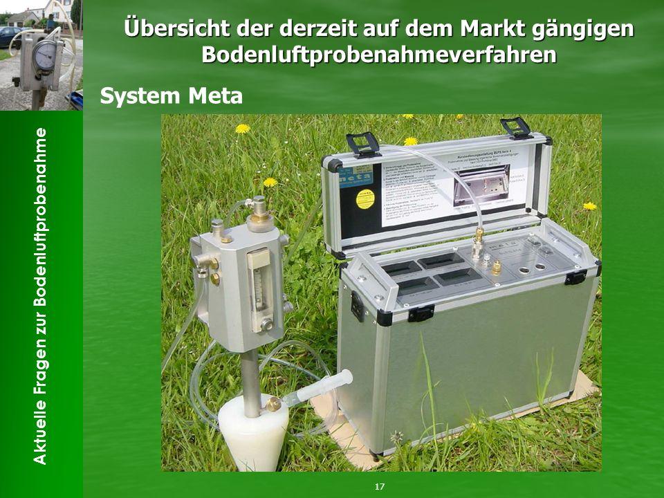 Aktuelle Fragen zur Bodenluftprobenahme Übersicht der derzeit auf dem Markt gängigen Bodenluftprobenahmeverfahren 17 System Meta