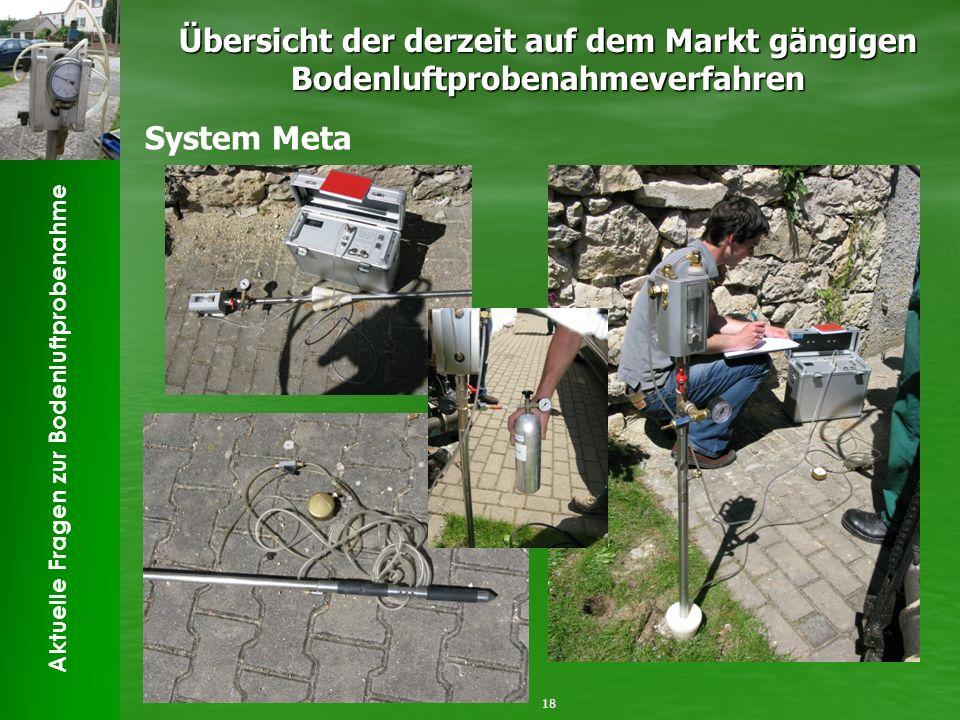Aktuelle Fragen zur Bodenluftprobenahme Übersicht der derzeit auf dem Markt gängigen Bodenluftprobenahmeverfahren 18 System Meta