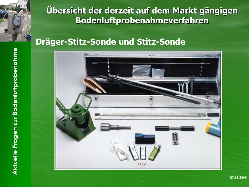 Aktuelle Fragen zur Bodenluftprobenahme Übersicht der derzeit auf dem Markt gängigen Bodenluftprobenahmeverfahren 2 25.11.2009 Dräger-Stitz-Sonde und Stitz-Sonde