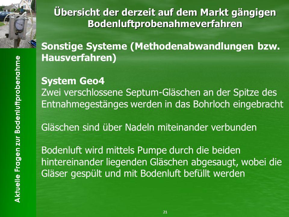 Aktuelle Fragen zur Bodenluftprobenahme Übersicht der derzeit auf dem Markt gängigen Bodenluftprobenahmeverfahren 21 Sonstige Systeme (Methodenabwandlungen bzw.