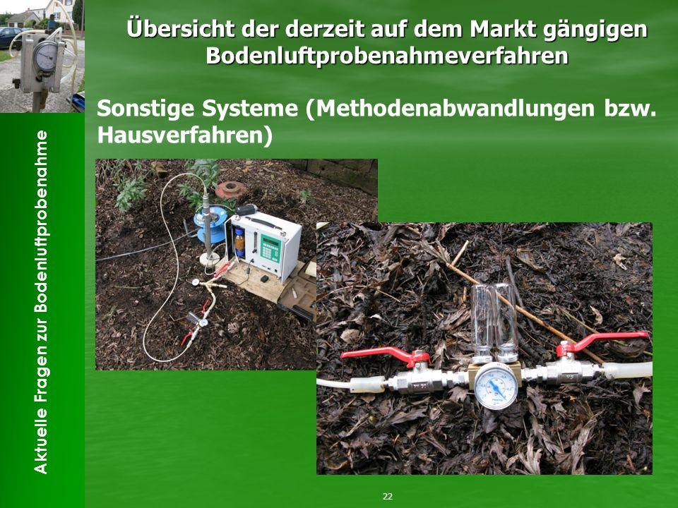 Aktuelle Fragen zur Bodenluftprobenahme Übersicht der derzeit auf dem Markt gängigen Bodenluftprobenahmeverfahren 22 Sonstige Systeme (Methodenabwandlungen bzw.