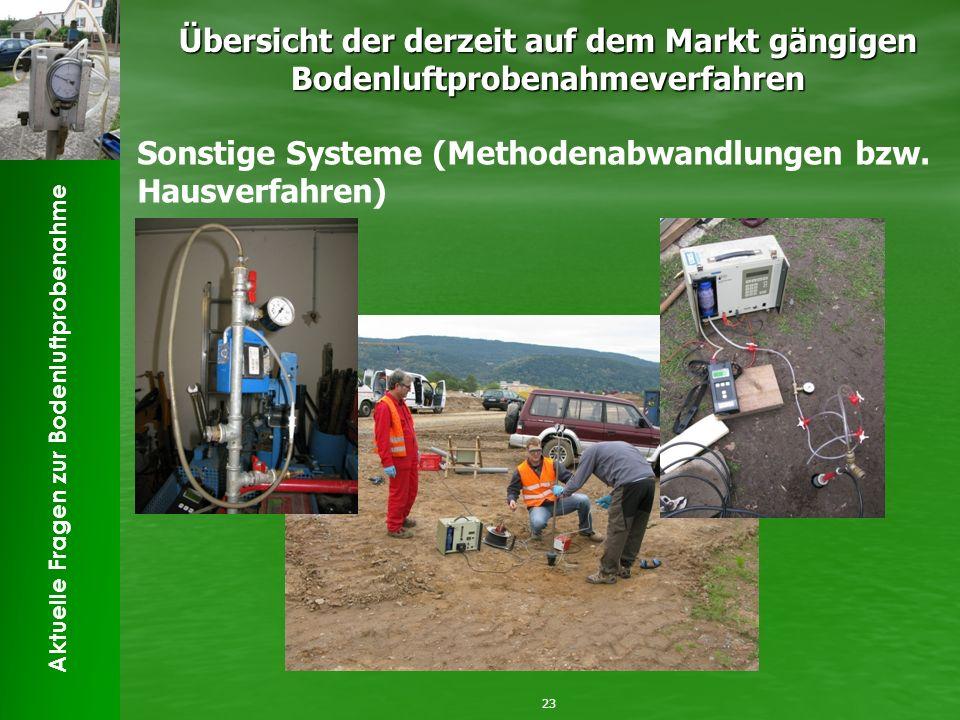 Aktuelle Fragen zur Bodenluftprobenahme Übersicht der derzeit auf dem Markt gängigen Bodenluftprobenahmeverfahren 23 Sonstige Systeme (Methodenabwandlungen bzw.