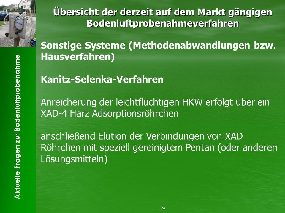 Aktuelle Fragen zur Bodenluftprobenahme Übersicht der derzeit auf dem Markt gängigen Bodenluftprobenahmeverfahren 24 Sonstige Systeme (Methodenabwandl