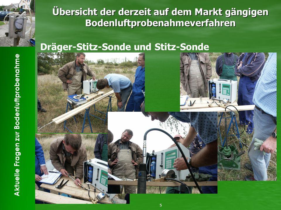 Aktuelle Fragen zur Bodenluftprobenahme Übersicht der derzeit auf dem Markt gängigen Bodenluftprobenahmeverfahren 5 Dräger-Stitz-Sonde und Stitz-Sonde