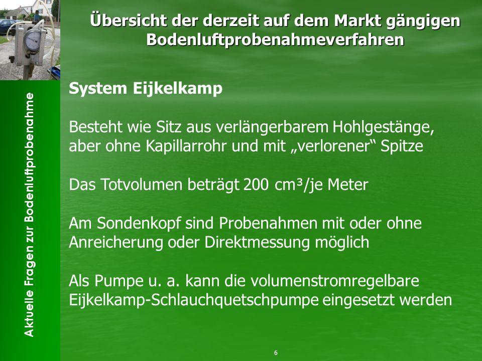 Aktuelle Fragen zur Bodenluftprobenahme Übersicht der derzeit auf dem Markt gängigen Bodenluftprobenahmeverfahren 6 System Eijkelkamp Besteht wie Sitz
