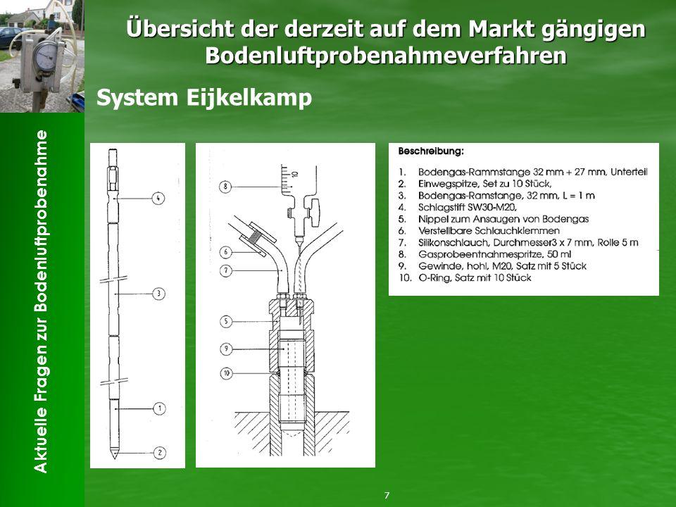 Aktuelle Fragen zur Bodenluftprobenahme Übersicht der derzeit auf dem Markt gängigen Bodenluftprobenahmeverfahren 8 System Eijkelkamp