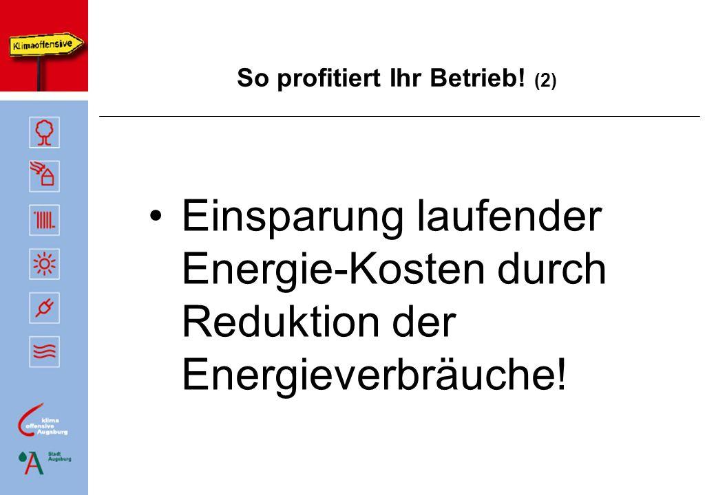 So profitiert Ihr Betrieb! (2) Einsparung laufender Energie-Kosten durch Reduktion der Energieverbräuche!