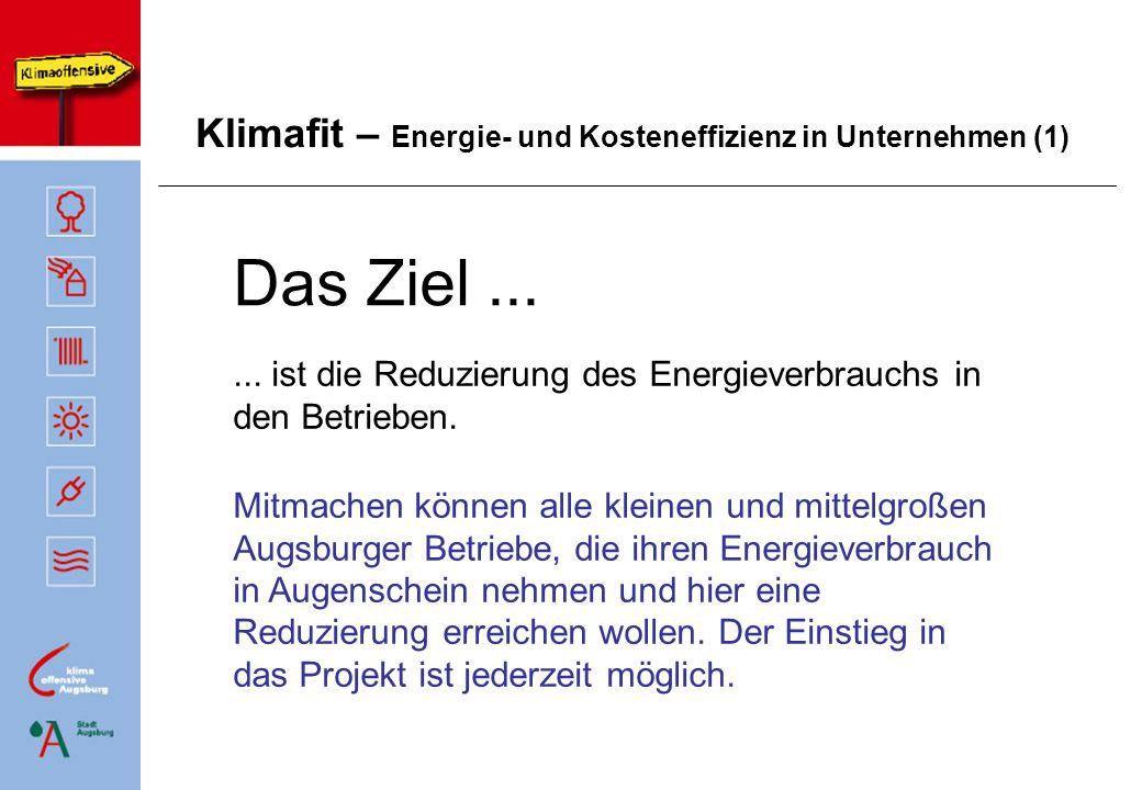Klimafit – Energie- und Kosteneffizienz in Unternehmen (1) Das Ziel...... ist die Reduzierung des Energieverbrauchs in den Betrieben. Mitmachen können