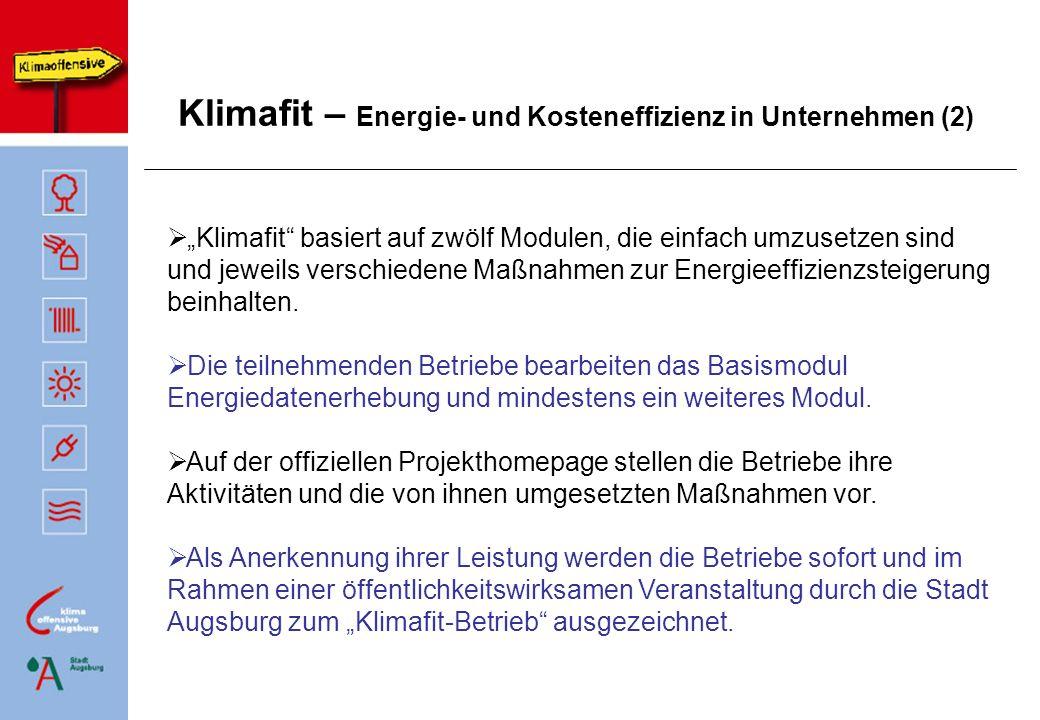 Klimafit – Energie- und Kosteneffizienz in Unternehmen (3) BasismodulModule 2 bis 12 Klimafit-Homepage Klimafit-Auszeichnung