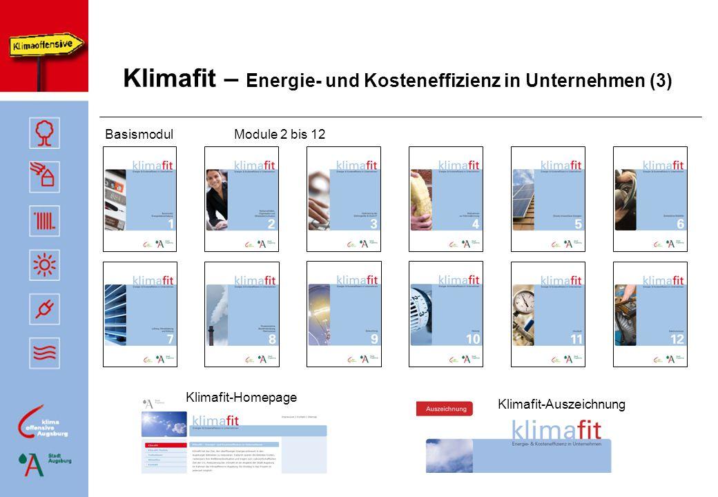 Agenda der Auftaktveranstaltung Projektvorstellung Klimafit Ralf Bendel, Umweltamt Sonderfonds für Energieeffizienz in KMU Monika Kees, IHK Schwaben Leitfäden des LfU Dr.