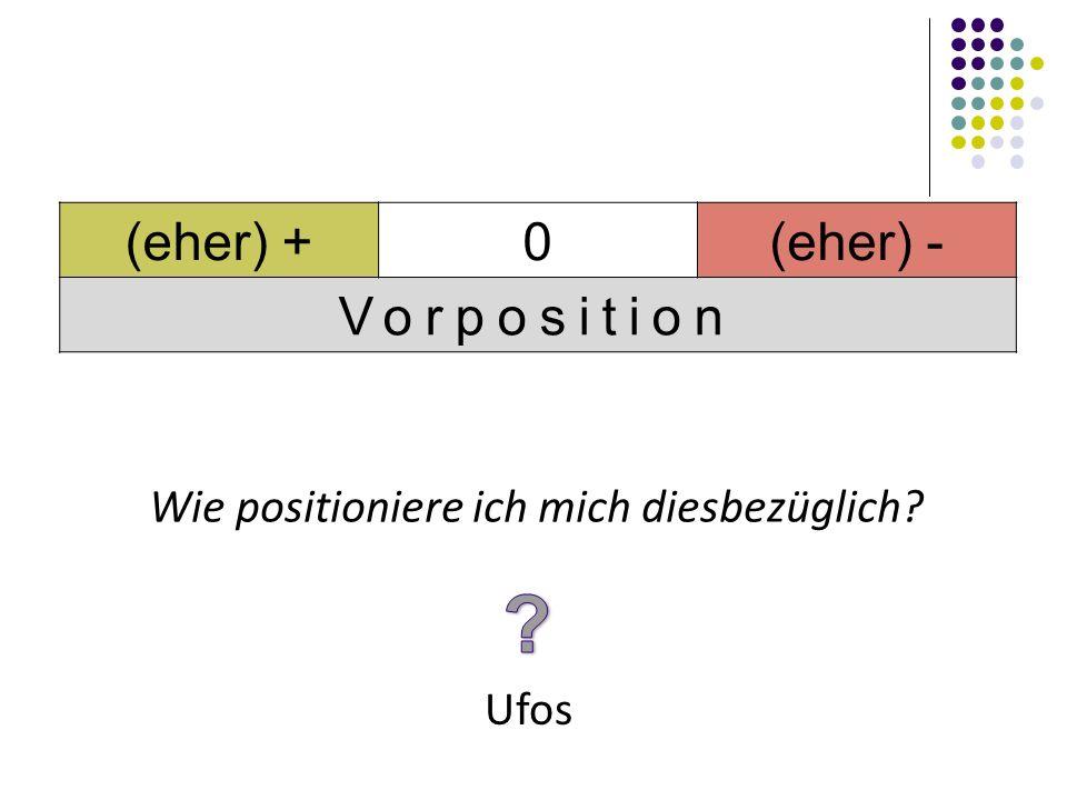 Ufos Wie positioniere ich mich diesbezüglich? (eher) +0(eher) - Vorposition
