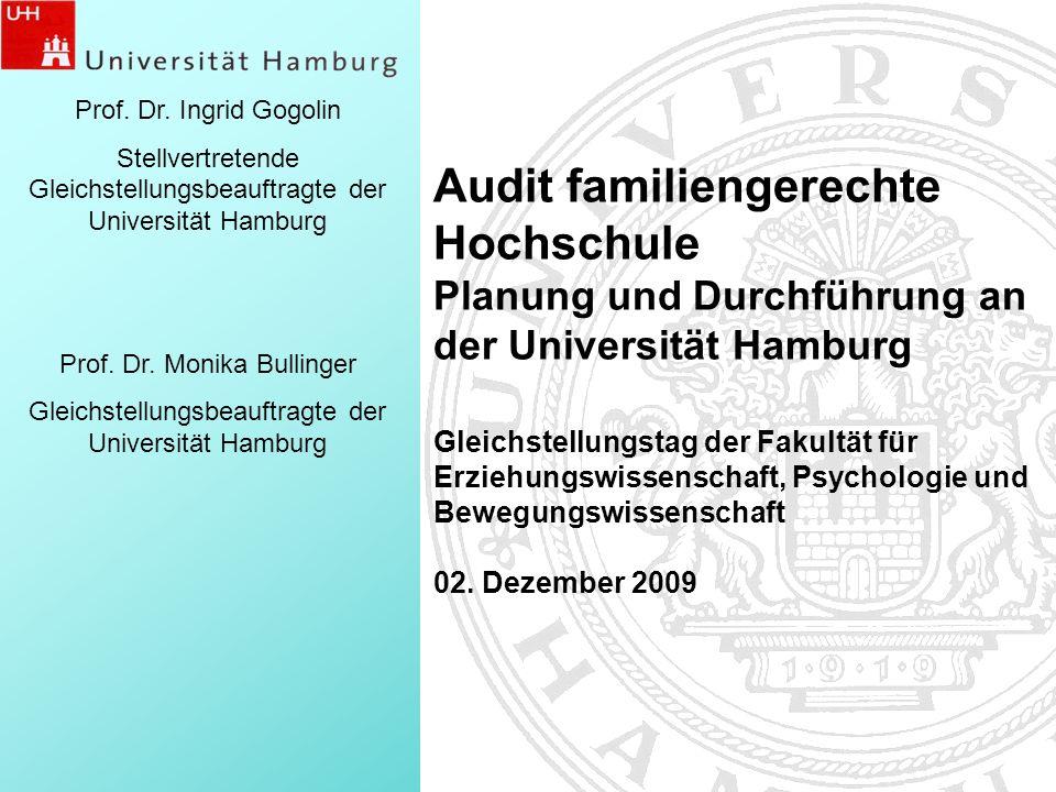 1 Prof. Dr. Ingrid Gogolin Stellvertretende Gleichstellungsbeauftragte der Universität Hamburg Prof. Dr. Monika Bullinger Gleichstellungsbeauftragte d