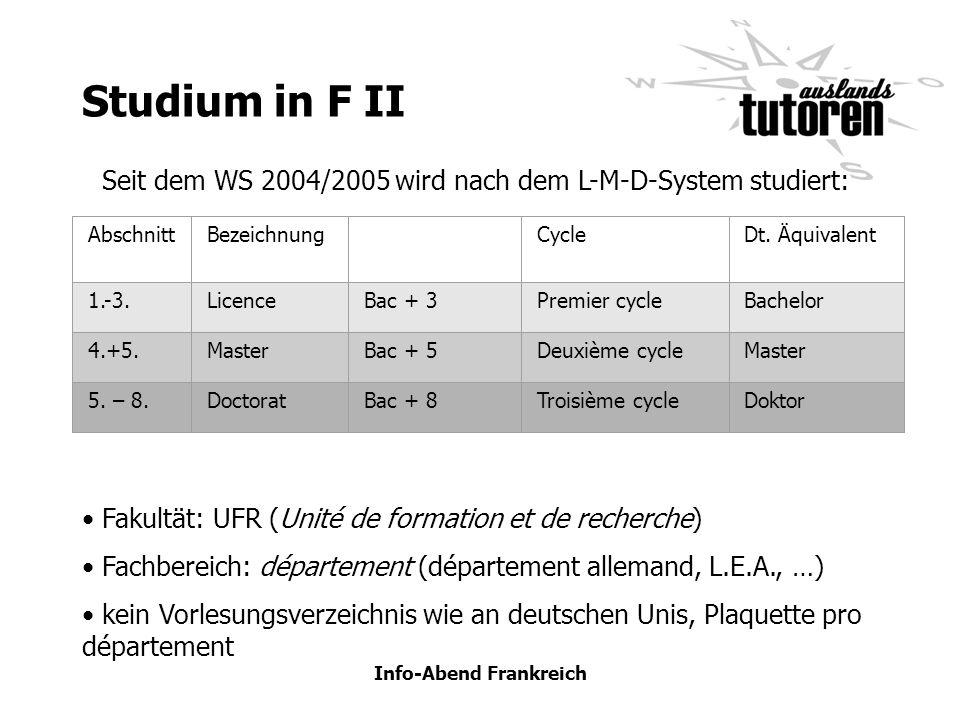Info-Abend Frankreich Studium in F II AbschnittBezeichnungCycleDt. Äquivalent 1.-3.LicenceBac + 3Premier cycleBachelor 4.+5.MasterBac + 5Deuxième cycl