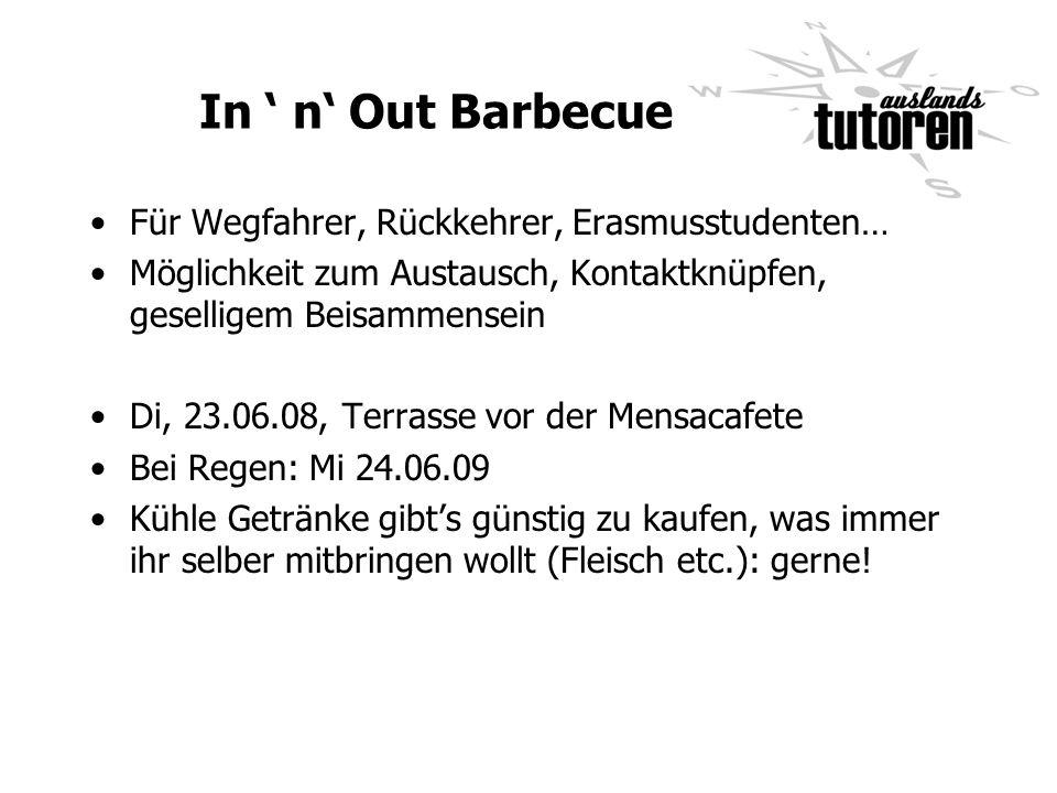 In n Out Barbecue Für Wegfahrer, Rückkehrer, Erasmusstudenten… Möglichkeit zum Austausch, Kontaktknüpfen, geselligem Beisammensein Di, 23.06.08, Terra