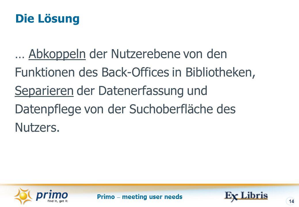 Primo – meeting user needs 14 … Abkoppeln der Nutzerebene von den Funktionen des Back-Offices in Bibliotheken, Separieren der Datenerfassung und Datenpflege von der Suchoberfläche des Nutzers.