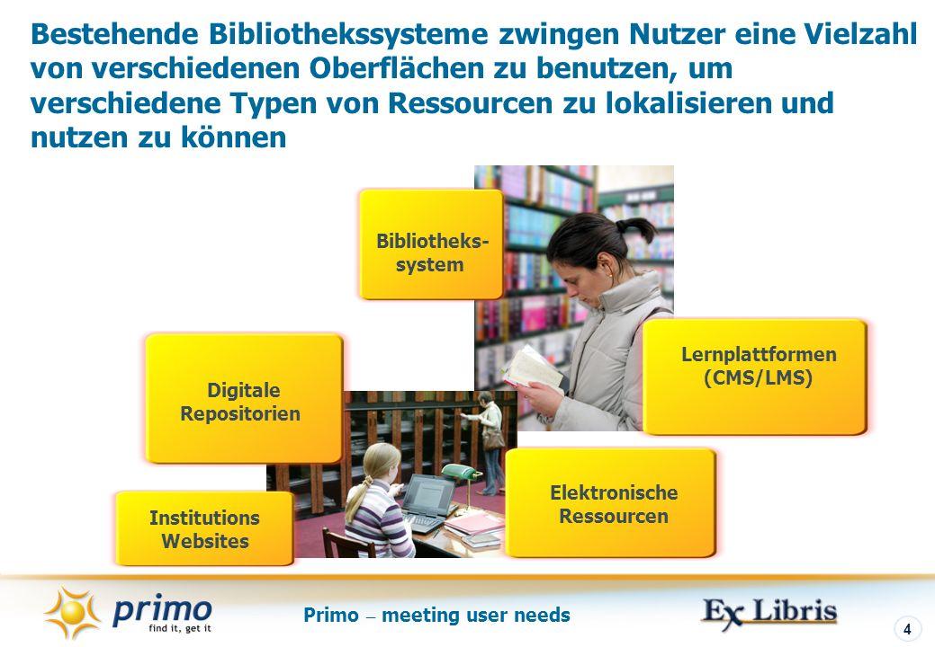 Primo – meeting user needs 4 Bestehende Bibliothekssysteme zwingen Nutzer eine Vielzahl von verschiedenen Oberflächen zu benutzen, um verschiedene Typen von Ressourcen zu lokalisieren und nutzen zu können Elektronische Ressourcen Bibliotheks- system Digitale Repositorien Lernplattformen (CMS/LMS) Institutions Websites