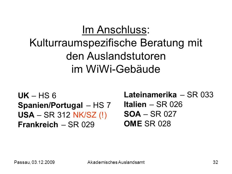 Passau, 03.12.2009Akademisches Auslandsamt32 Im Anschluss: Kulturraumspezifische Beratung mit den Auslandstutoren im WiWi-Gebäude UK – HS 6 Spanien/Po