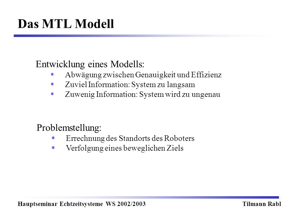 Das MTL Modell Hauptseminar Echtzeitsysteme WS 2002/2003Tilmann Rabl Entwicklung eines Modells: Abwägung zwischen Genauigkeit und Effizienz Zuviel Information: System zu langsam Zuwenig Information: System wird zu ungenau Problemstellung: Errechnung des Standorts des Roboters Verfolgung eines beweglichen Ziels