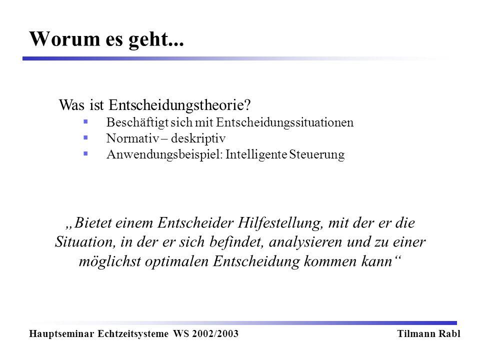 Worum es geht... Hauptseminar Echtzeitsysteme WS 2002/2003Tilmann Rabl Was ist Entscheidungstheorie? Beschäftigt sich mit Entscheidungssituationen Nor
