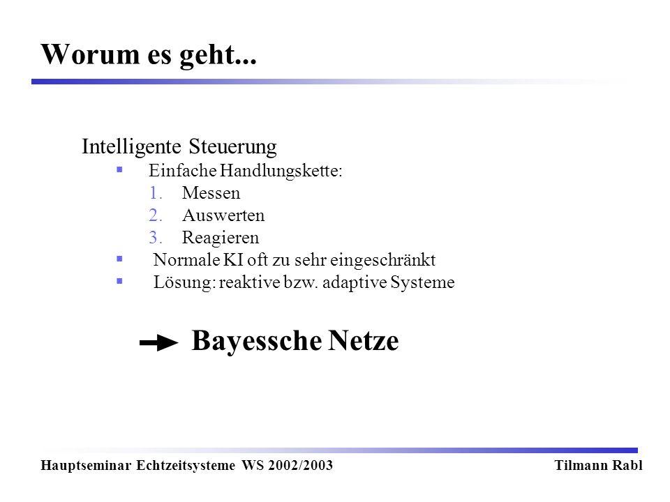 Worum es geht... Hauptseminar Echtzeitsysteme WS 2002/2003Tilmann Rabl Intelligente Steuerung Einfache Handlungskette: 1.Messen 2.Auswerten 3.Reagiere