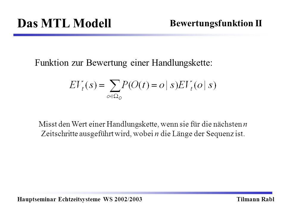 Das MTL Modell Hauptseminar Echtzeitsysteme WS 2002/2003Tilmann Rabl Bewertungsfunktion II Funktion zur Bewertung einer Handlungskette: Misst den Wert einer Handlungskette, wenn sie für die nächsten n Zeitschritte ausgeführt wird, wobei n die Länge der Sequenz ist.