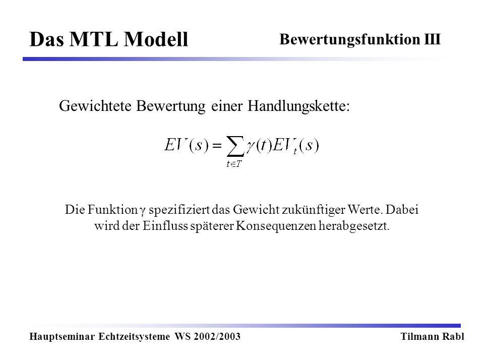 Das MTL Modell Hauptseminar Echtzeitsysteme WS 2002/2003Tilmann Rabl Bewertungsfunktion III Gewichtete Bewertung einer Handlungskette: Die Funktion γ spezifiziert das Gewicht zukünftiger Werte.