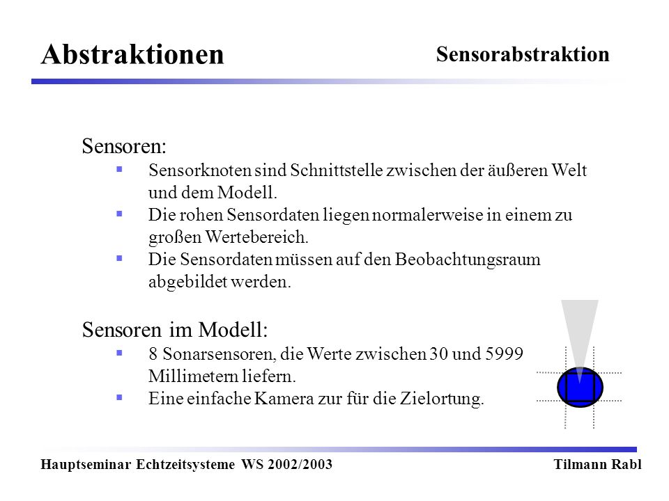 Abstraktionen Hauptseminar Echtzeitsysteme WS 2002/2003Tilmann Rabl Sensoren: Sensorknoten sind Schnittstelle zwischen der äußeren Welt und dem Modell.