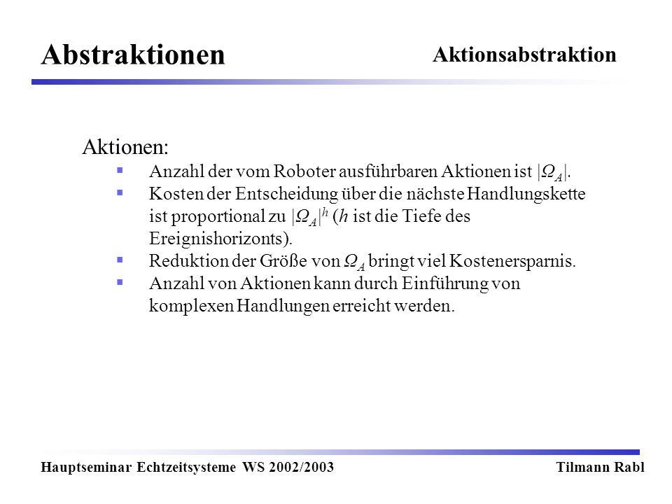 Abstraktionen Hauptseminar Echtzeitsysteme WS 2002/2003Tilmann Rabl Aktionen: Anzahl der vom Roboter ausführbaren Aktionen ist |Ω A |. Kosten der Ents