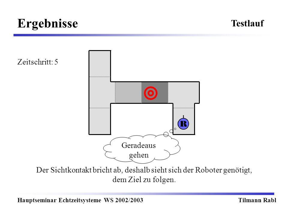 Ergebnisse Hauptseminar Echtzeitsysteme WS 2002/2003Tilmann Rabl Testlauf Der Sichtkontakt bricht ab, deshalb sieht sich der Roboter genötigt, dem Ziel zu folgen.