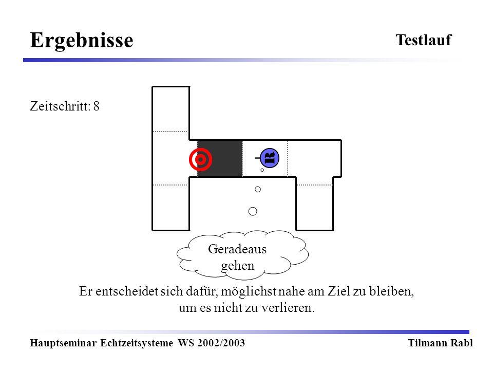 Ergebnisse Hauptseminar Echtzeitsysteme WS 2002/2003Tilmann Rabl Testlauf Er entscheidet sich dafür, möglichst nahe am Ziel zu bleiben, um es nicht zu verlieren.