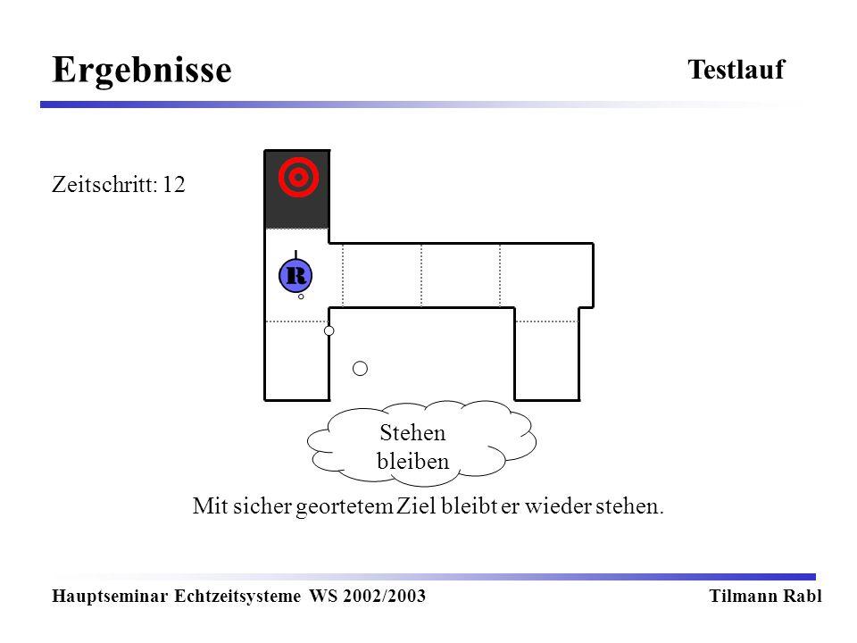 Ergebnisse Hauptseminar Echtzeitsysteme WS 2002/2003Tilmann Rabl Testlauf Mit sicher geortetem Ziel bleibt er wieder stehen. Stehen bleiben Zeitschrit