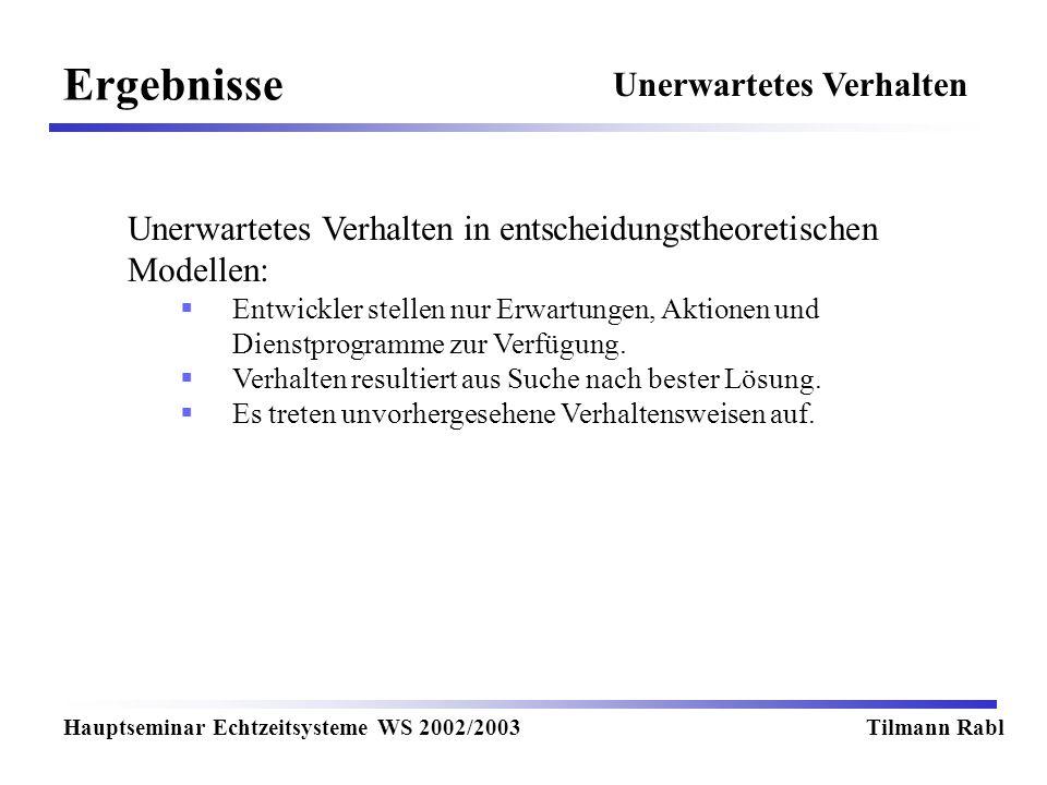 Ergebnisse Hauptseminar Echtzeitsysteme WS 2002/2003Tilmann Rabl Unerwartetes Verhalten Unerwartetes Verhalten in entscheidungstheoretischen Modellen: Entwickler stellen nur Erwartungen, Aktionen und Dienstprogramme zur Verfügung.