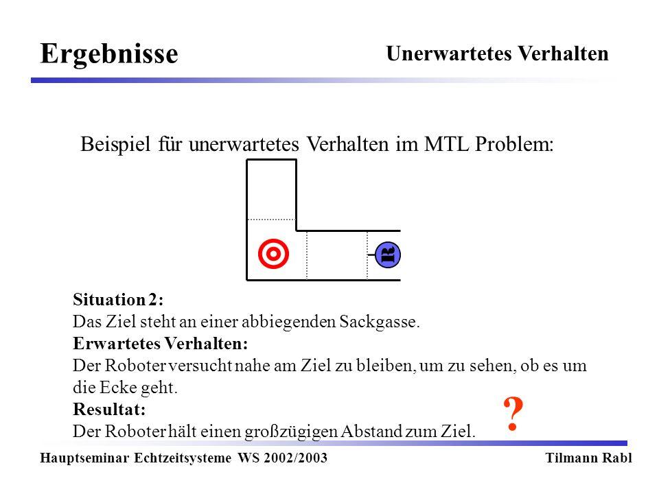 Ergebnisse Hauptseminar Echtzeitsysteme WS 2002/2003Tilmann Rabl Unerwartetes Verhalten Beispiel für unerwartetes Verhalten im MTL Problem: Situation 2: Das Ziel steht an einer abbiegenden Sackgasse.