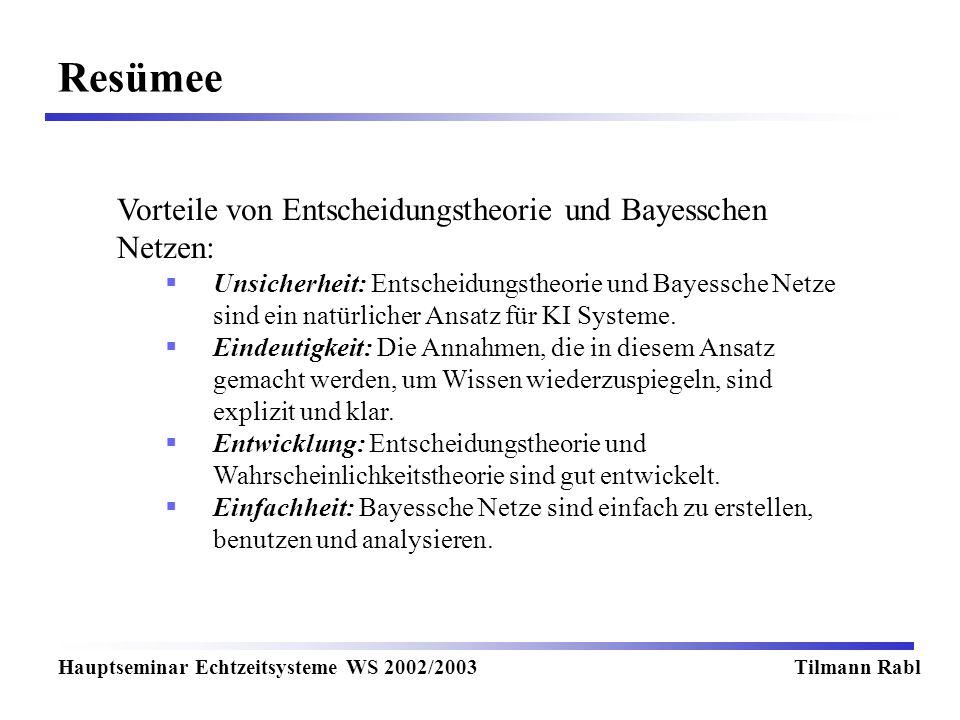 Resümee Hauptseminar Echtzeitsysteme WS 2002/2003Tilmann Rabl Vorteile von Entscheidungstheorie und Bayesschen Netzen: Unsicherheit: Entscheidungstheorie und Bayessche Netze sind ein natürlicher Ansatz für KI Systeme.