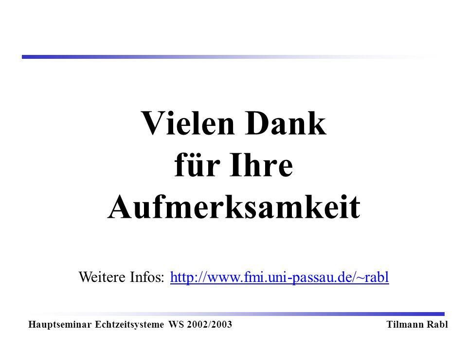 Weitere Infos: http://www.fmi.uni-passau.de/~rablhttp://www.fmi.uni-passau.de/~rabl Vielen Dank für Ihre Aufmerksamkeit Hauptseminar Echtzeitsysteme WS 2002/2003Tilmann Rabl